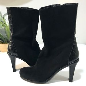 DONALD J PLINER Suede Leather Mid Calf Boots Italy